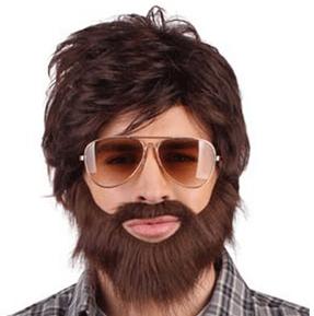 Feestartikelen Bruine pruik met snor en baard dude bij Partydog party artikelen