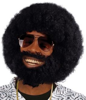 Feestartikelen Zwarte ronde afro pruik met baard bij Partydog party artikelen