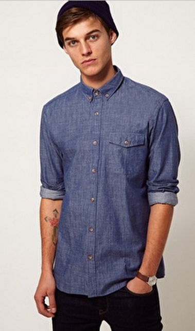chambray shirt via asos van selected