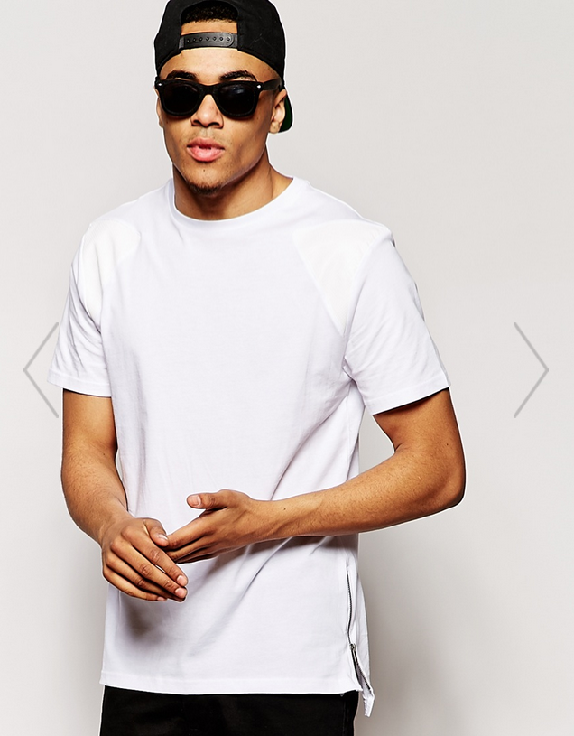 River Island   River Island T Shirt with Faux Leather Shoulder Patch at ASOS
